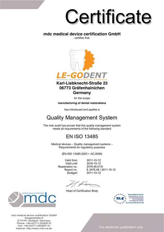 QM Zertifizierung Dentallabor DIN EN ISO 9001 DIN EN ISO 13485 LE-GO ...
